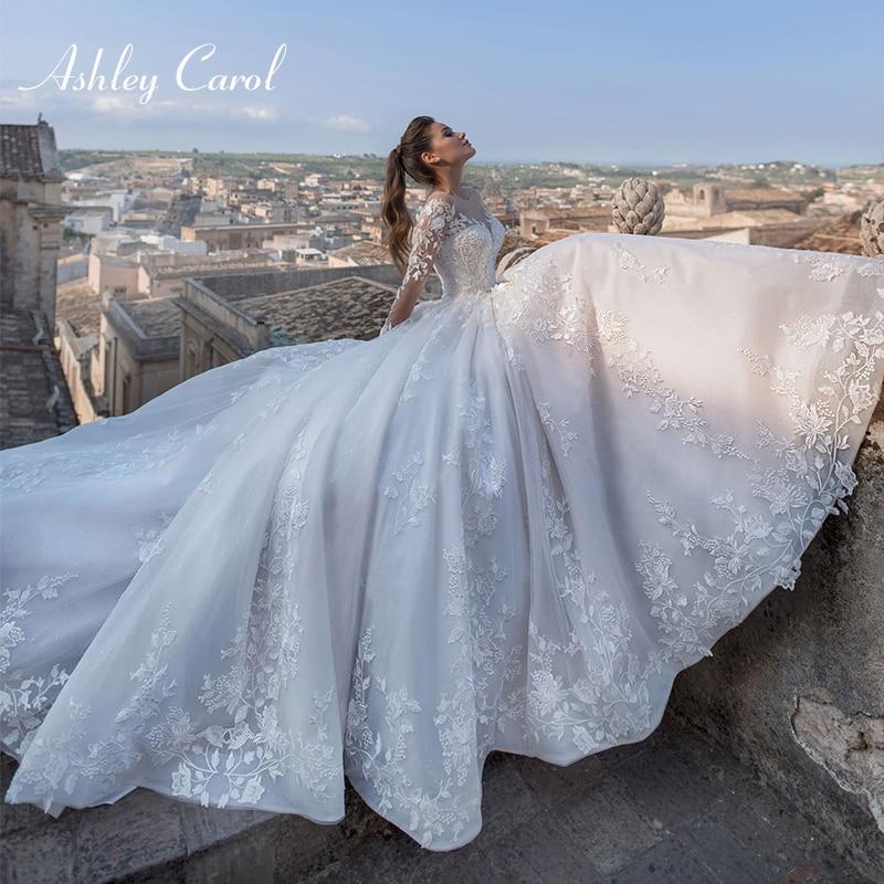 Ashley Carol Sexy V-neck Long Sleeve Tulle Wedding Dresses 2020 Court Train A-Line Bridal Vintage Lace Up Princess Wedding Gowns