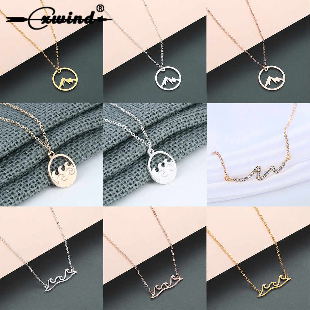 Cxwind Ocean Wave Pendant Necklace Long Sweater Chain Nautical Choker Necklaces & Pendants Fashion Jewelry Collares