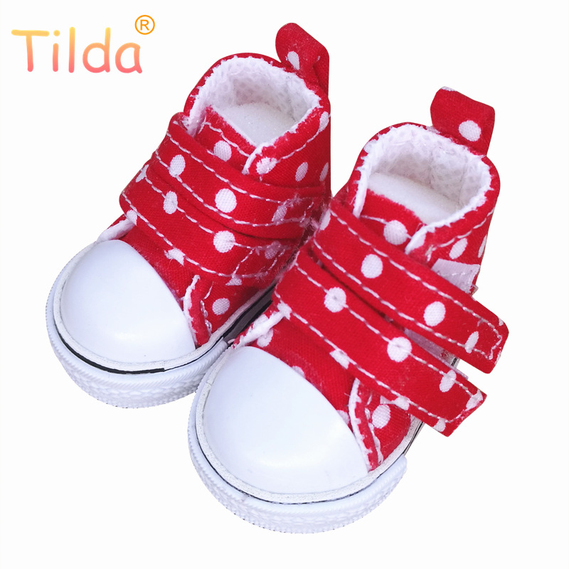 Tilda 5cm Canvas Sneakers For BJD Doll,Mini Textile Doll Boots 1/6 Polka Dots Designer Sneakers Shoes for Handmade Doll Masters все цены
