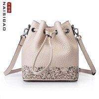 NAISIBAO новые сумки из натуральной кожи тиснение из коровьей кожи женские кожаные сумки модные роскошные сумки на плечо женская сумка мешок