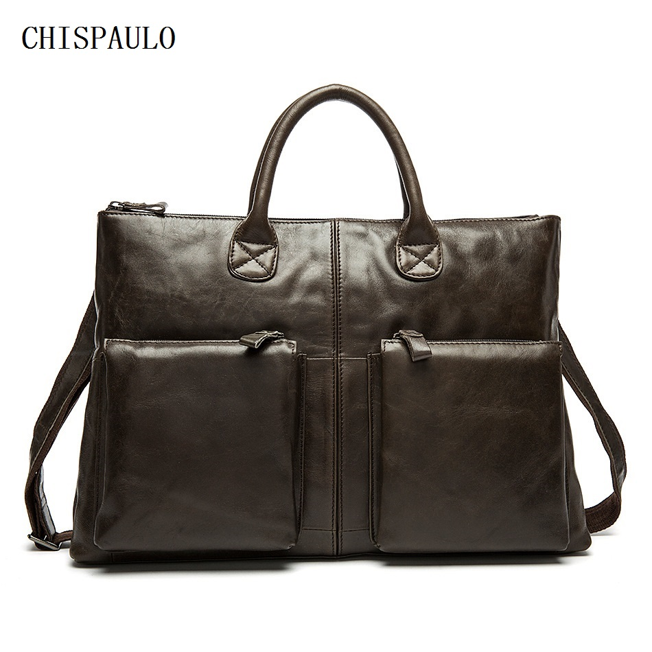 CHISPAULO Genuine Leather Vintage Men Bags 14inch Oil Wax man leather briefcase travel bags leisure men's handbag Vintage T695 2015 new vintage oil wax genuine leather men handbag leisure out door travel hiking camp sport gym laptop shoulder bags