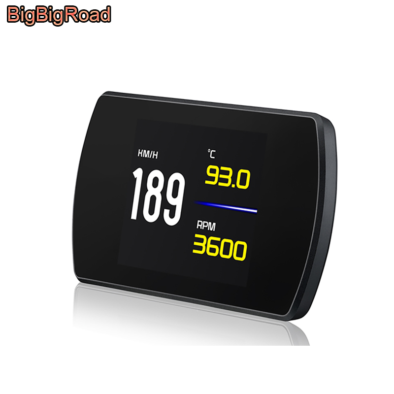 BigBigRoad Car HUD Head Up Display OBDII 2 EUOBD Windscreen Projector For Toyota Fortuner Hilux Tacoma Corolla Camry Prius RAV-4 bigbigroad car obdii 2 hud head up display windscreen projector for mitsubishi asx mirage triton outlander montero lancer