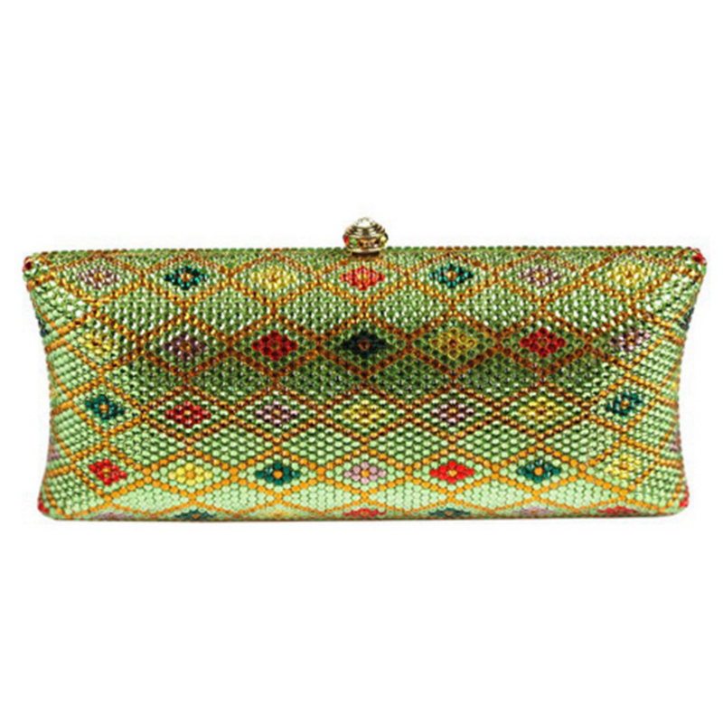 XIYUAN BRAND green plaid Hard Case Metal Women Crystal Evening Clutches Bags Bridal Handbag Rhinestones Clutch Wedding Purse все цены