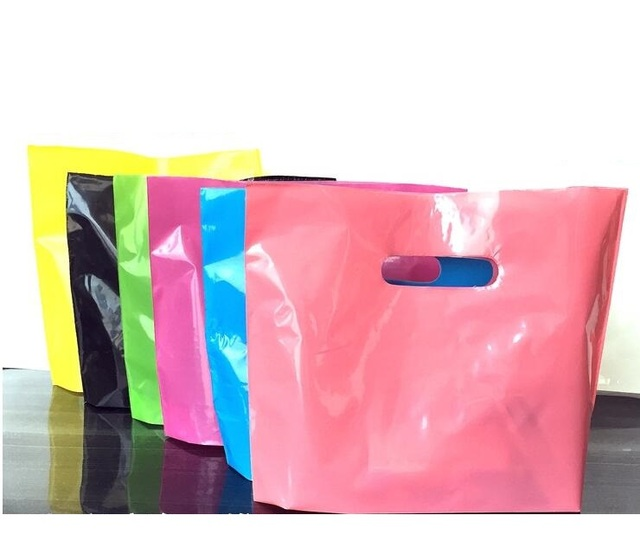 4 Sizes 50pcs Large Small Pink Plastic Gift Bags With Handles Cloth Ping Bag Portable
