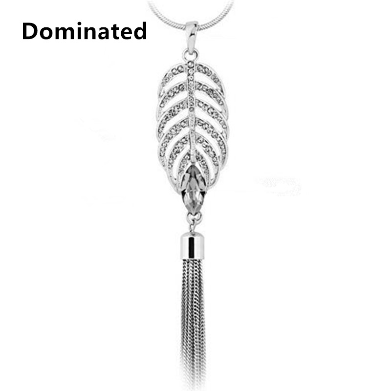 Dominated Women New Leaves Crystal Set Long Tassel Sweater Chain Simple Accessories Female Fashion Necklace