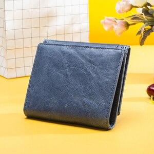 Image 2 - Contacts cartera de piel auténtica para mujer, monedero pequeño, monedero, tarjetero, Mini Portomonee