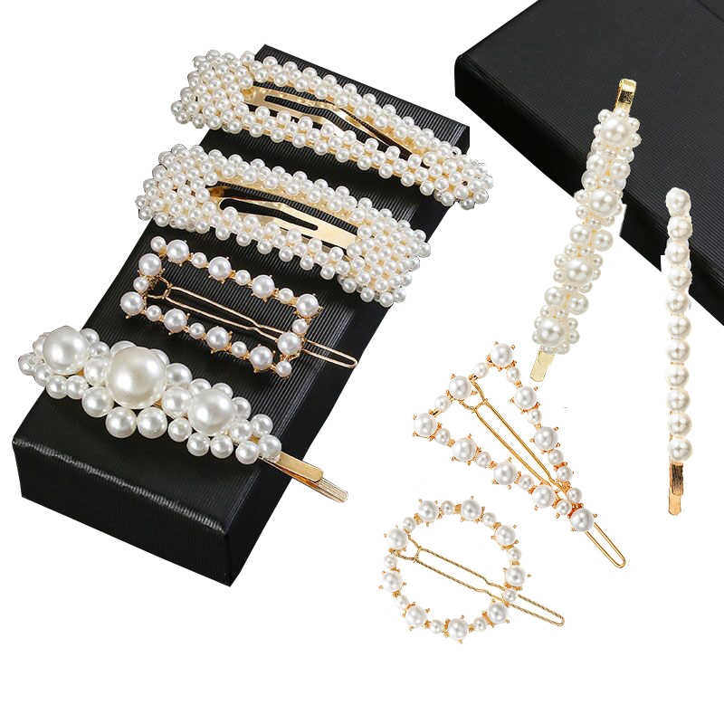 Fashion Metal Minimalist Hair Accessories Geometric Irregular Gold Color Hair Clip Imitiation Pearl Hairpin Barrettes Hairgrip