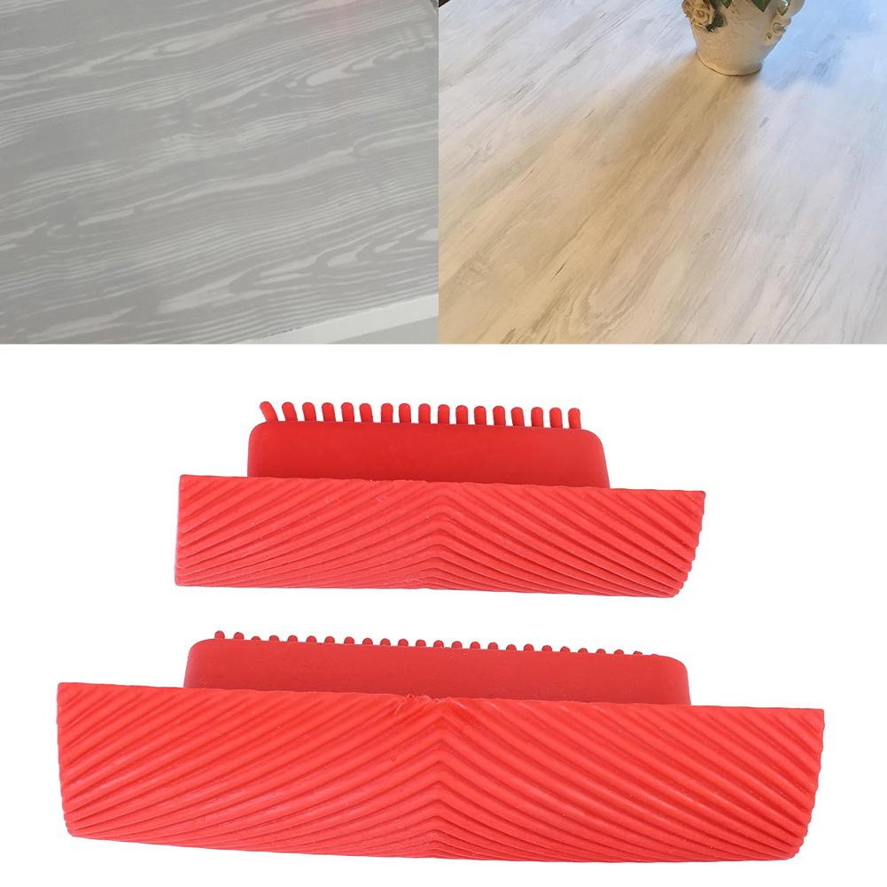2Pcs Handheld Wood Grain Painting Tool Wall Art DIY Rubber Roll Brush Home Decor Useful