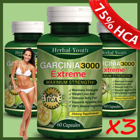 FREE SHIPPING 3pcs TOP Quality PURE Garcinia Cambogia Extracts Weight Loss 75 HCA