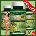 FREE SHIPPING 3pcs TOP quality PURE garcinia cambogia extracts weight loss,75% HCA