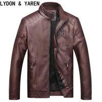 Autunno-inverno Taglie L-3XL PU Slim Fit giacca di pelle uomini giacca casuale collare spessore caldo velluto uomini S Giacche e giacche cappotto