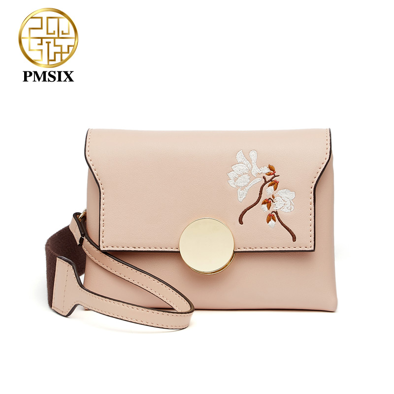 Pmsix Famous Brand fashion Embroidery flowers Split Leather Messenger bags for women High quality Wide shoulder