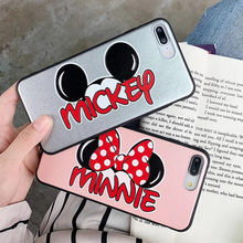 PU Leather Phone Case For iPhone 7 8 Plus Mickey Minnie Cartoon Painting Soft Cover For iPhone X XS MAX XR 6 pink case