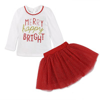2017 Children S Christmas Child Set Children S Long Sleeve Letter Net Yarn Skirt Girls Set