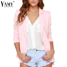 Blazer Feminino 2017 slim Blazer Women Autumn fashion Long Sleeve single button Small Suit girl Casual pink Notched Office coat