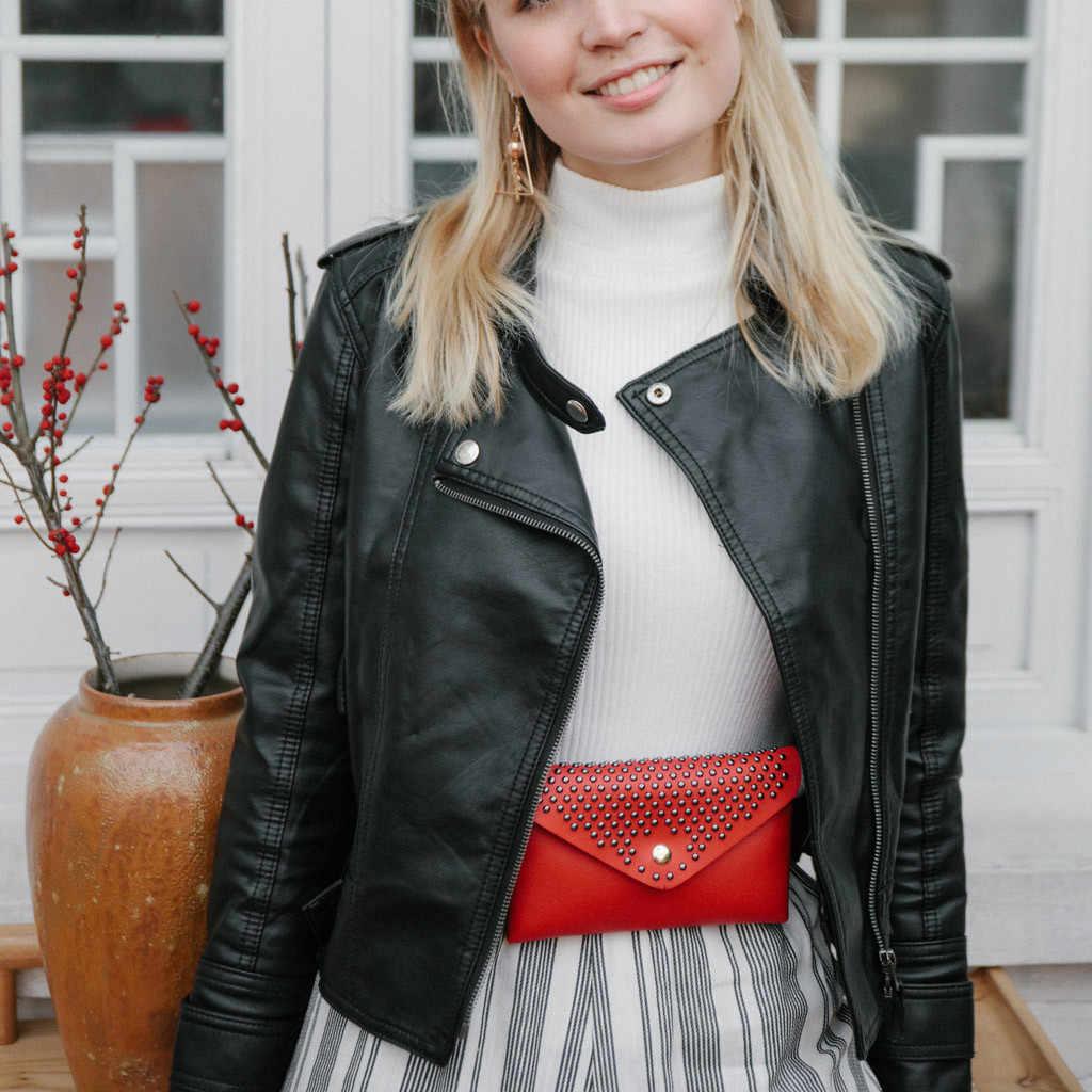 Mulheres da moda Rebites Hasp Cor Sólida Mensageiro Saco Peito Saco da Cintura Ao Ar Livre Saco de Moda PU Bolsa De Couro No Peito Fanny Pack # GEX