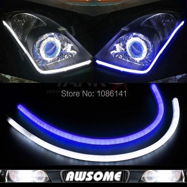 2x 60cm DRL Flexible LED Tube Strip Style Car Headlight Light Blue&White Switchback For Eclipse Endeavor Galant Lancer Outlander