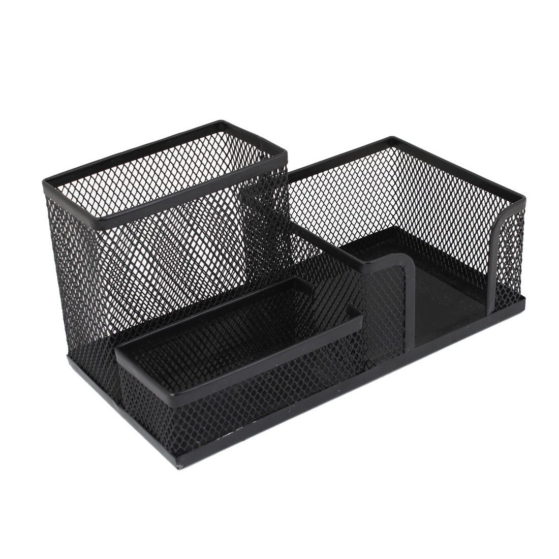 Black Cube Metal Stand Mesh Style Pen Pencil Ruler Holder Desk Organizer Storage