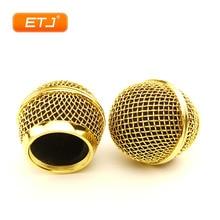 Micrófono de malla con cabeza de bola dorado pulido, rejilla del micrófono compatible con shure sm 58 sm 58sk beta 58 beta58a, 2 uds.