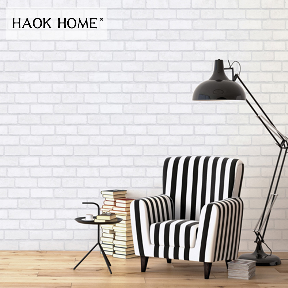 HaokHome Vintage Faux Brick Peel Stick Wallpaper White Brick Retro Textued Self adhesive living room bedroom kitchen wall Decor