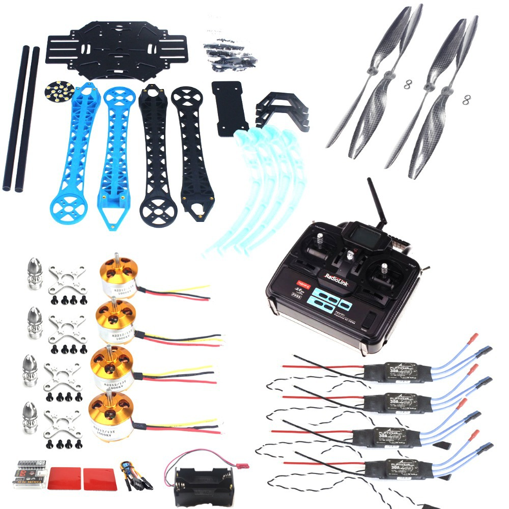 F08151-E JMT DIY S500 RC Drone ARF Upgrade Kit Frame + S500 Landing Gear + QQ SUPER Flight Controller + Carbon Props + 6CH TX RX drone with camera rc plane qav 250 carbon frame f3 flight controller emax rs2205 2300kv motor fiber mini quadcopter