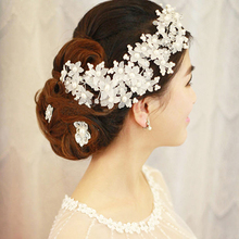 Bridal Tiara jewelry Crystal Rhinestone Flower hair accessories Handmade White Pearl headwear Bridal headdress H 043