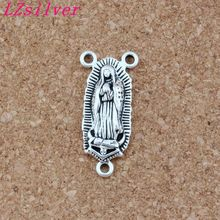 OLR Lady of Guadalupe Triangular 3-Strand Charm Spacer End Connector 14x30.5mm 50pcs Antique Silver Jewelry F-60