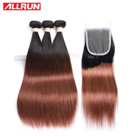 Allrun 3 חבילות T1B/33 צבע פרואני ישר שיער אדם עם 4*4 סגירת תחרה משלוח חינם 4 יח'\חבילה אי רמי שיער הארכת