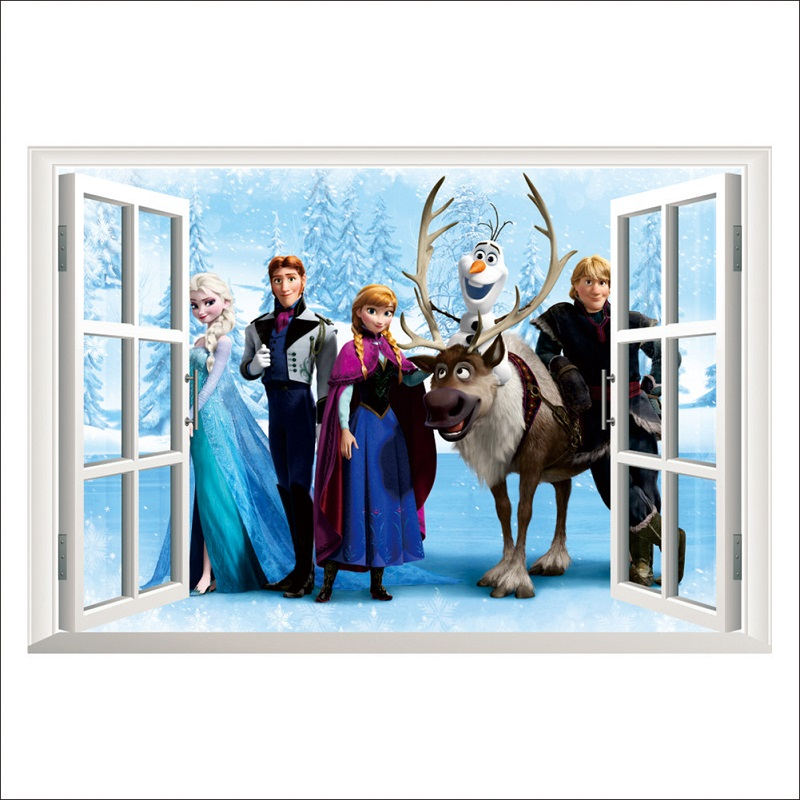new Disney Frozen Sticker 3D Movie Character Wallpaper Bedroom Decoration PVC Waterproof Self adhesive Paper Children 39 s Gifts in Action amp Toy Figures from Toys amp Hobbies