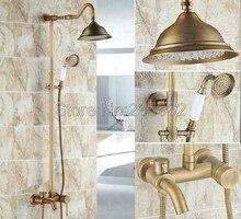 Antique Brass Single Handle Rain Shower Faucet Set Wall Mounted Bathtub Mixer Tap + Rainfall Shower Heads + Hand Spray lrs222