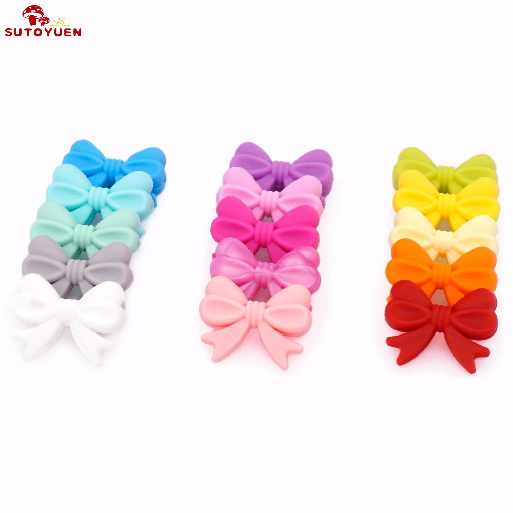 Sutoyuen 10pc Silicone Beads Bow Tie BPA Free Loose Teether Bead DIY Baby Pacifier Dummy Jewelry Necklace Toy Accessories