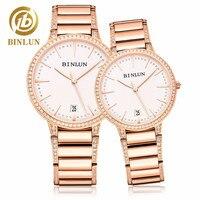 BINLUN механические часы пару часов минималистский Стиль Diamond Пара часы Нержавеющаясталь автоматические часы подарок для любителей