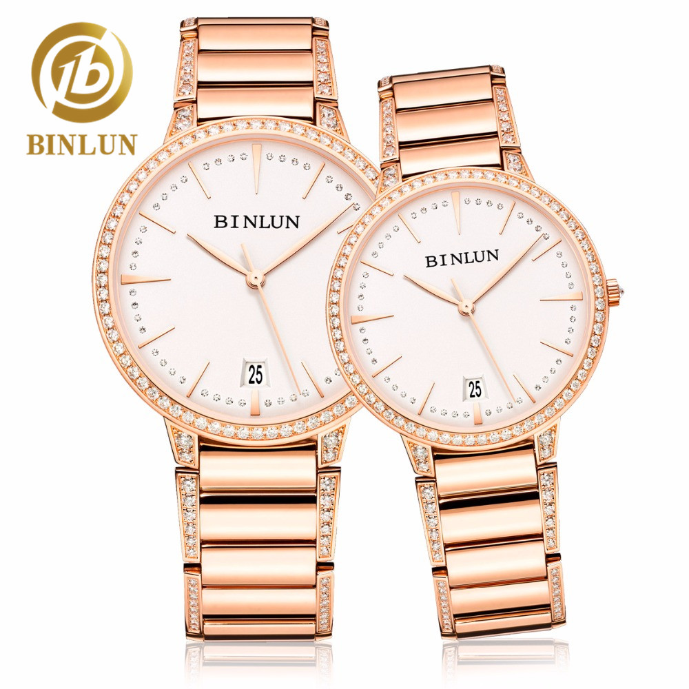 BINLUN Mechanical Watches Couple Watches Minimalist Style Diamond Pair Watches Stainless Steel Automatic Watch Gift For Lovers