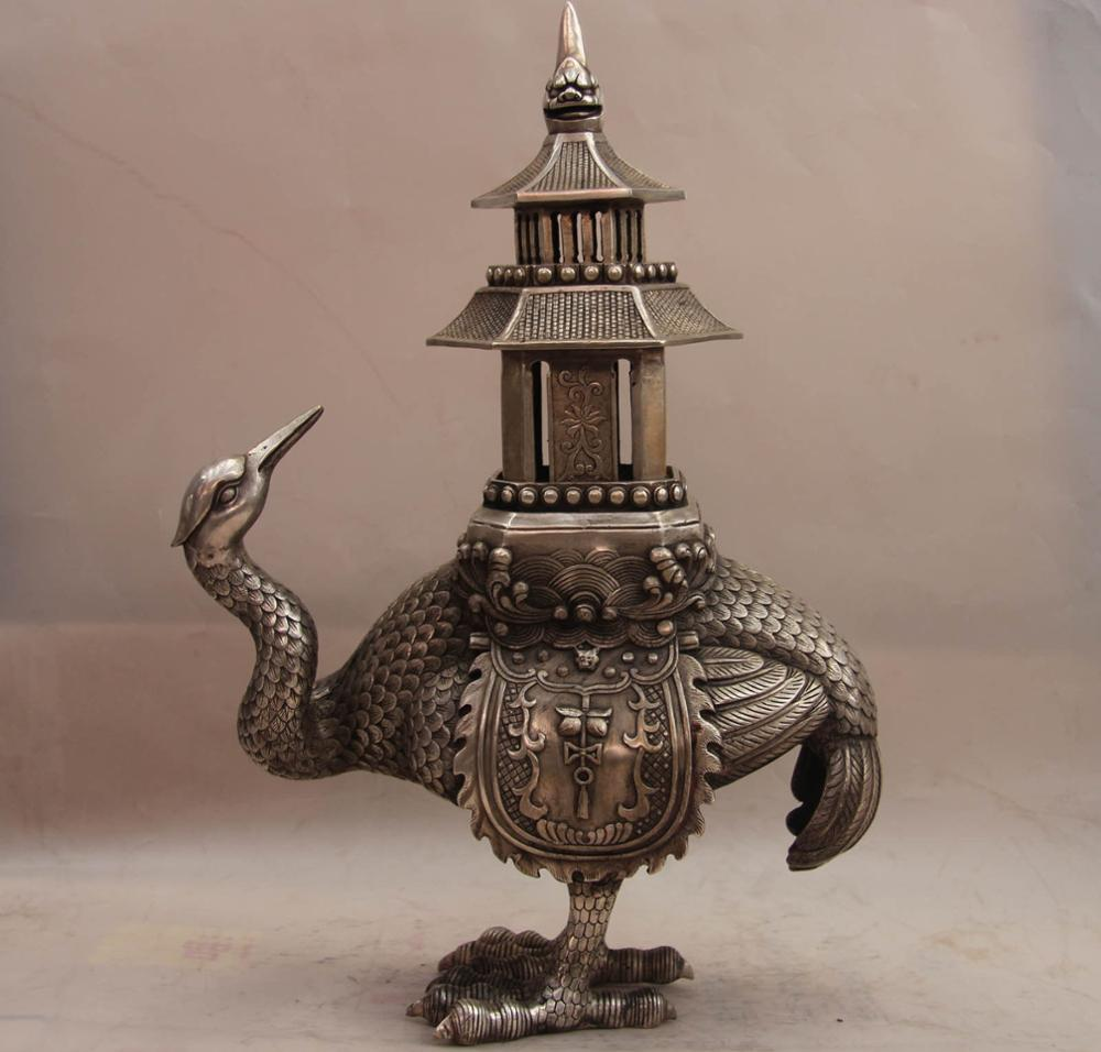 China White Copper Silver Buddhism Red-crowned Crane Bird Incense Burner Censer