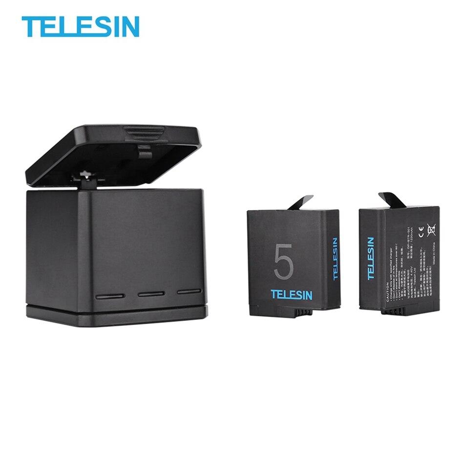 TELESIN 3 canaux chargeur de batterie 3 ports boîte de rangement avec 2 x batterie pour GoPro Hero 5 6 7 pour Action Sport caméras accessoires