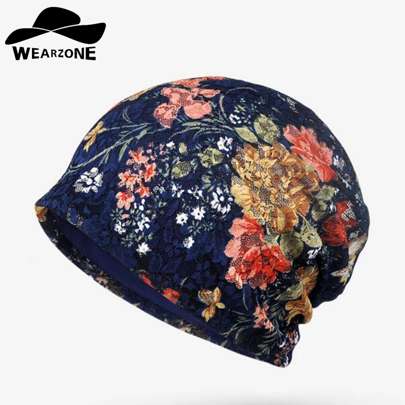 WEARZONE Brand Autumn Winter Caps Hat Women Hedging Skullies Caps Cap Hat Knitting Lace Jacquard Double Layer Of Cotton winter women hedging skullies beanies knitting caps bonnet double layer cotton knitted hat lace cap