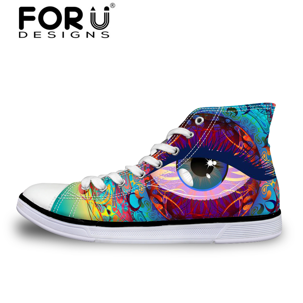 4c5c3b8f1e37 FORUDESIGNS Pretty 3D Eyes Pattern Women High Top Vulcanize Shoe Breathable Casual  Canvas Shoes for Female Flats Walking Shoes -in Women's Vulcanize Shoes ...