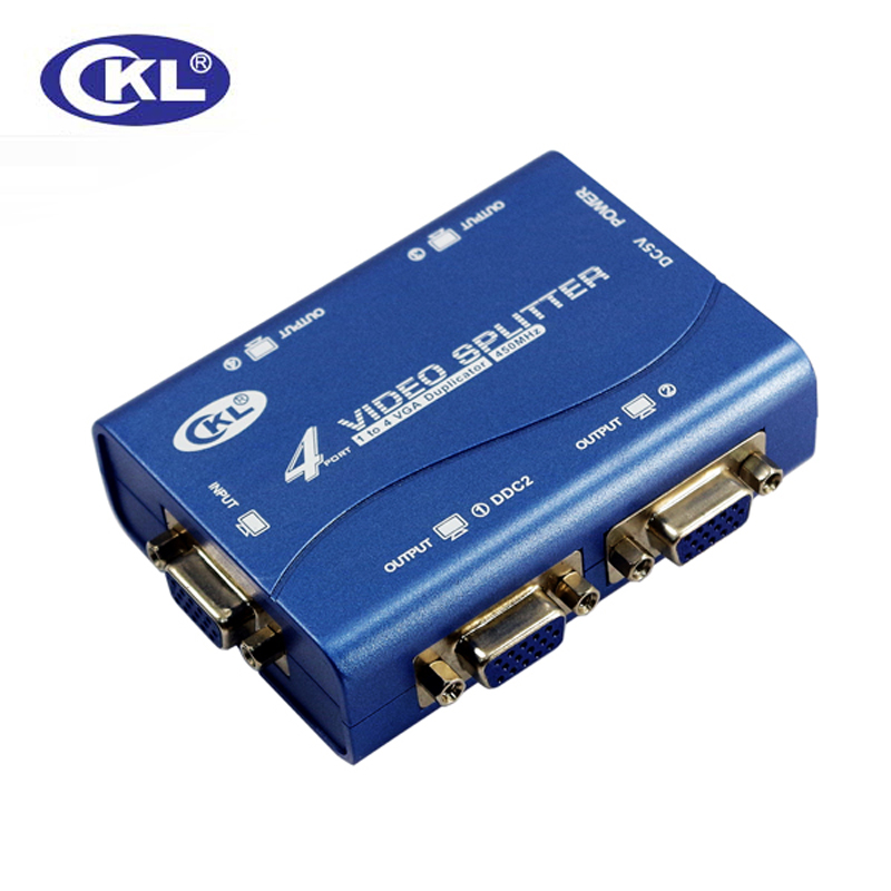 4 Port VGA Splitter 1 In 4 Out Supports 450MHz 2048*1536 Supports DDC, DDC2, DDC2B CKL-1041B