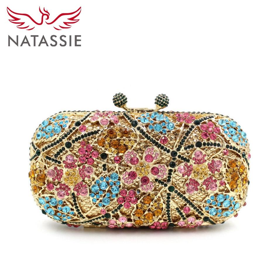 ФОТО NATASSIE Women Luxury Flower Crystal Clutch Bag Evening Purse Handbag Diamonds Wedding Party Clutches Wholesale Gold L2013