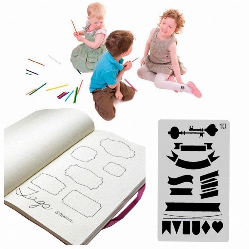 12pcs/set Creative Bullet Journal Stencil Plastic Planner Stencils Journal/notebook/diary/scrapbook Diy Drawing Template Rule #5