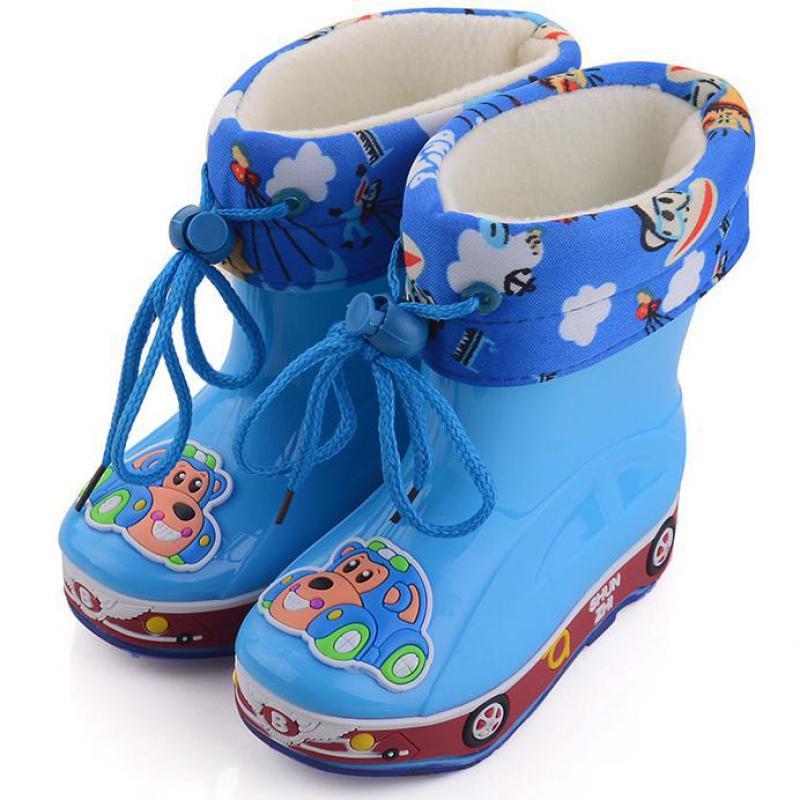 Children Rain Boots Waterproof Boys Shoe For Girls Cartoon Shoes Kids Footwear Winter Warm Removable Cotton Boot Child Size26-30