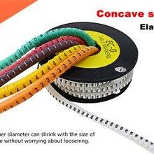 1000 шт./лот EC-0/EC-1/EC-2/EC-3 Кабельные маркеры буквы от 0 до 9(каждая буква 100 шт) кабельные провода Маркеры цвета
