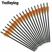 6/12/24PCS16 17 18 20 22 inch carbon arrow crossbow bolt orange green feather for composite bow hunting archery shooting target