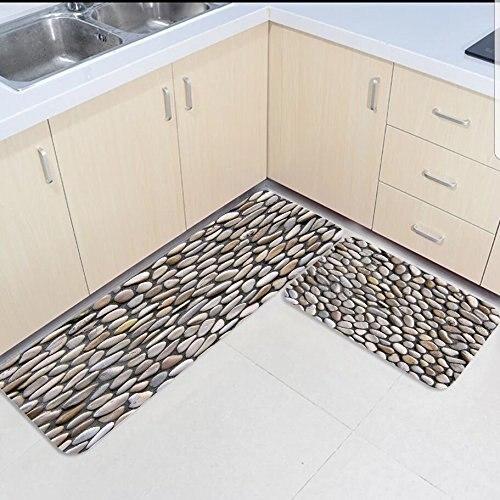 2 pièces cuisine tapis et tapis ensemble pavé galets route maison Deocr antidérapant zone coureur paillassons tapis