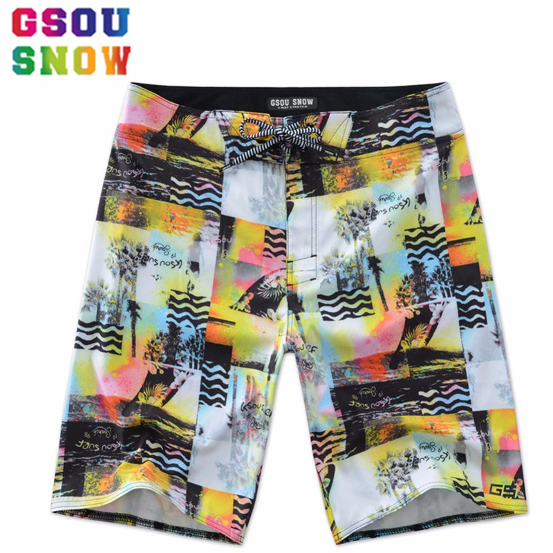 GSOU SNOW Brand New Summer   Board     Shorts   Men Beach Vacation Mens Swimming   Shorts   Printed Quick Dry Surfing   Shorts