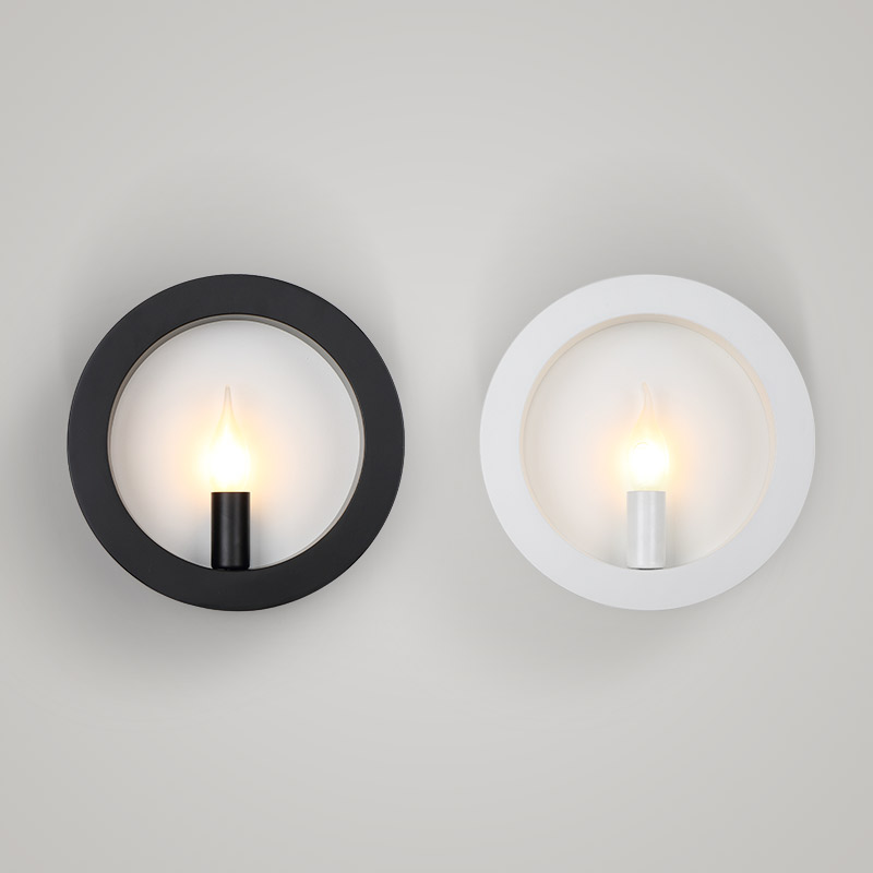 Modern simple fashion E14 iron wall lamp creative square/round black and white two color for living room lighting