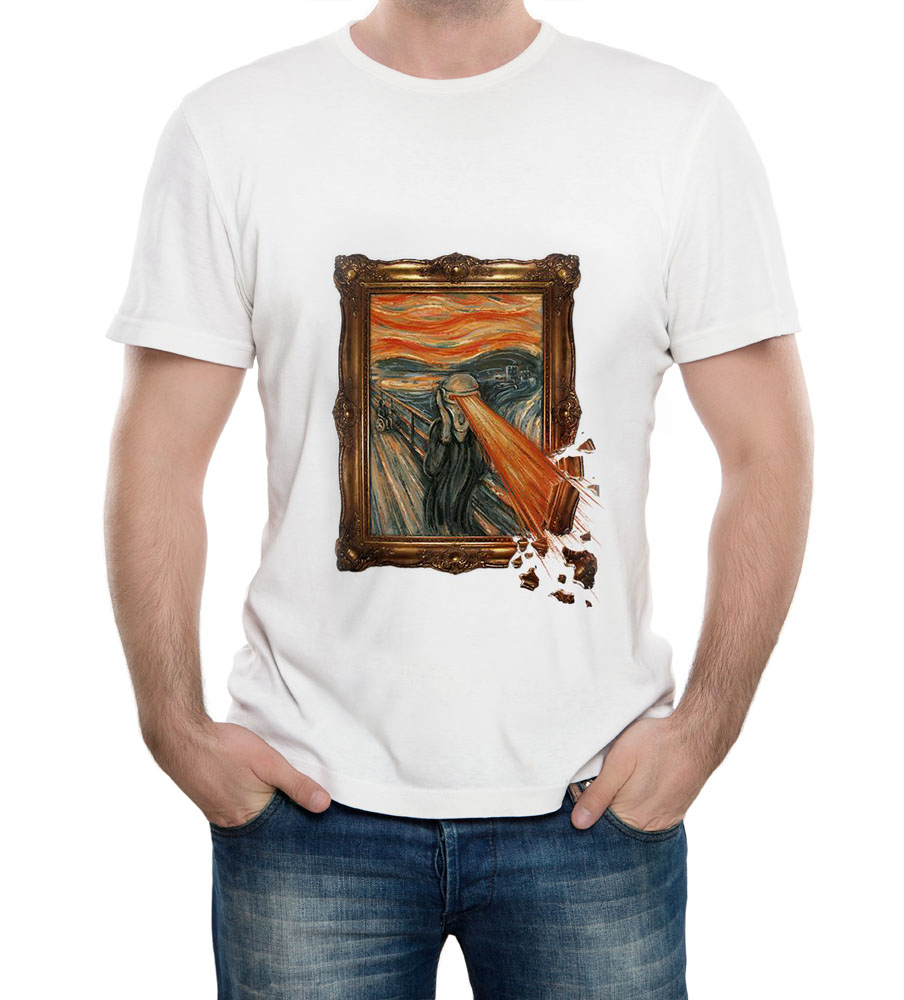 Design t shirt brand - Aliexpress Com Buy Edvard Munch The Scream Large Print Men S T Shirt Fine Art Design Tshirt Brand White O Neck Tee Men From Reliable Tees Men Suppliers On