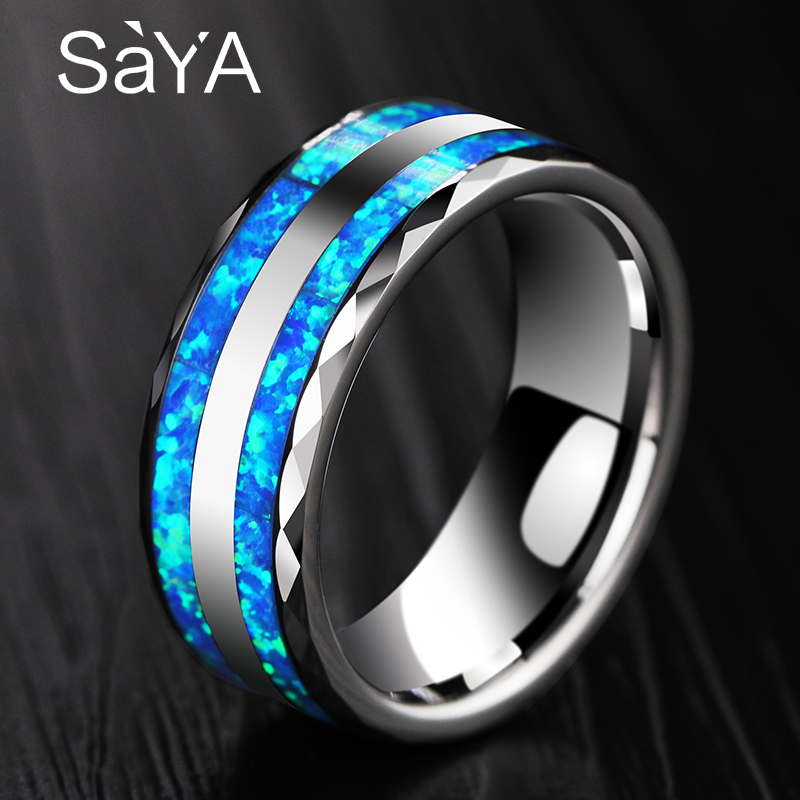 New Arrival Luxurious 8mm Width Tungsten Ring for Wedding inlay Two Pcs Synthetic Blue Opal for Woman Man Comfort Fit 7.5-10 2018 new arrival 10mm width black ceramic bracelet tungsten links for man inlay luxury opal 18 5cm 20cm length free shipping
