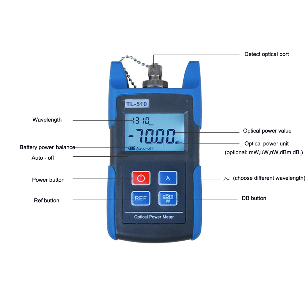 Premium Fiber Optic Power Meter Tool Tester Optical Light Source Sc Auto Off And Fc Adapters 70 10dbm In Equipments From Cellphones Telecommunications
