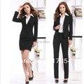 2015 nova primavera outono senhora do escritório mulheres OL carreira ternos de negócio define as mulheres trabalham usar uniforme define plus size xxxl